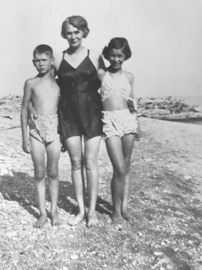 John Shaw with his mother and sister Molly on beach that is no longer there